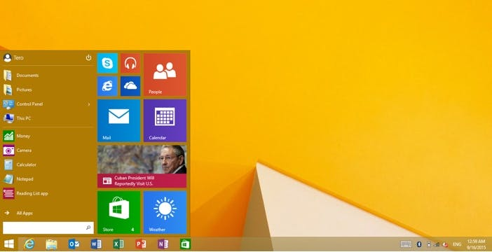 Windows RT si aggiorna con il menù start di Windows 10