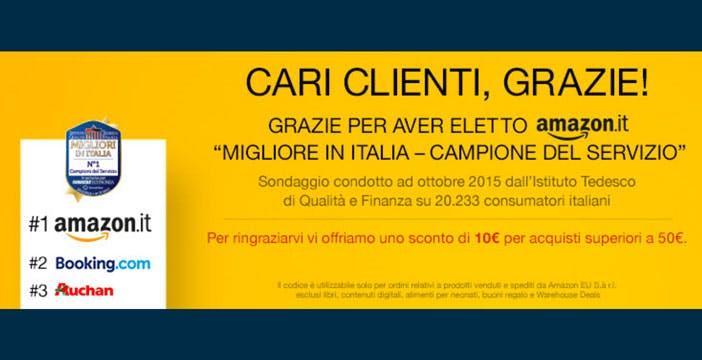 Amazon ringrazia gli italiani con 10€ di sconto. Solo per oggi.