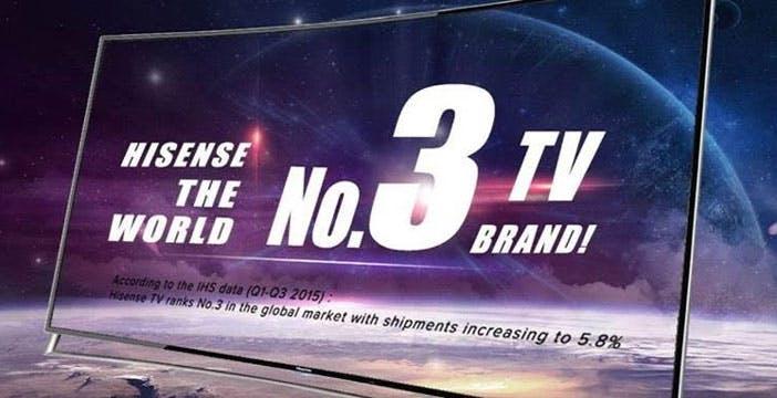 Hisense è il terzo produttore mondiale di TV