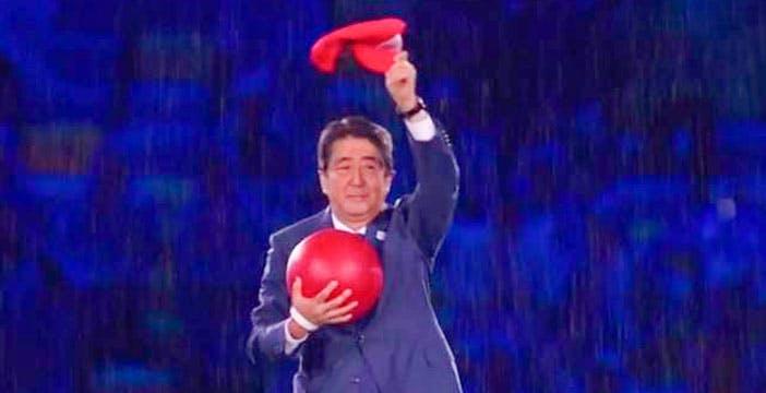 Abe vestito da SuperMario con Doraemon e PacMan: super lancio delle Olimpiadi di Tokyo 2020