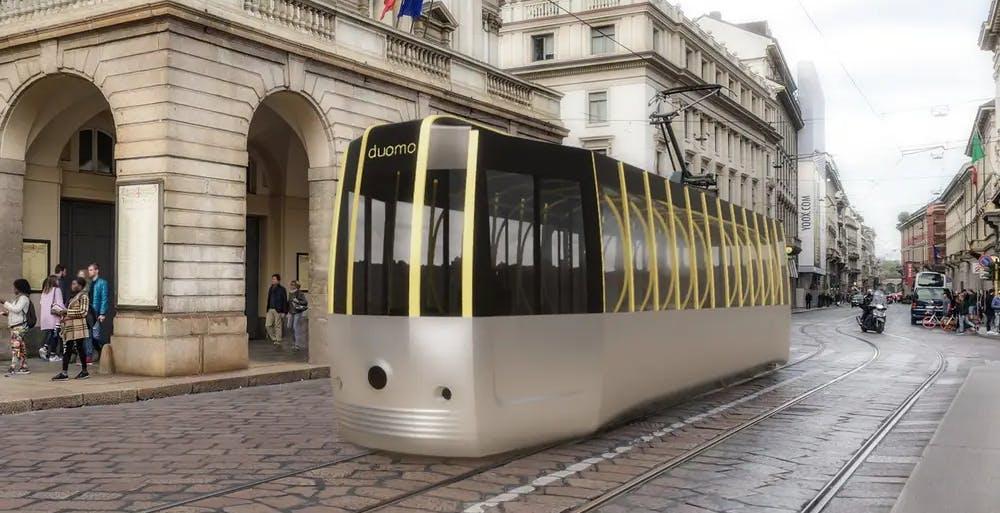 """Il tram progettato in epoca COVID-19. """"Passerella"""" rispetta il distanziamento sociale con eleganza"""