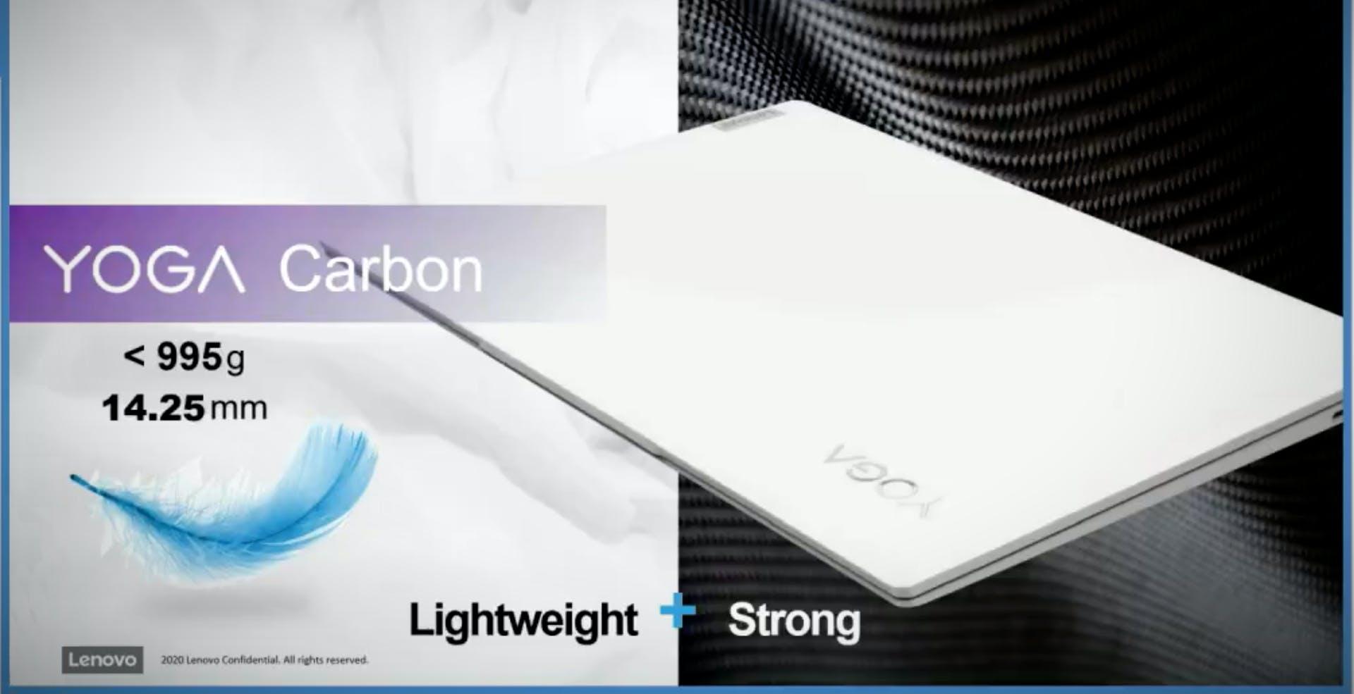 """Spunta il Lenovo Yoga Carbon da 13,3"""" in fibra di carbonio e con i nuovi processori Tiger Lake di Intel"""