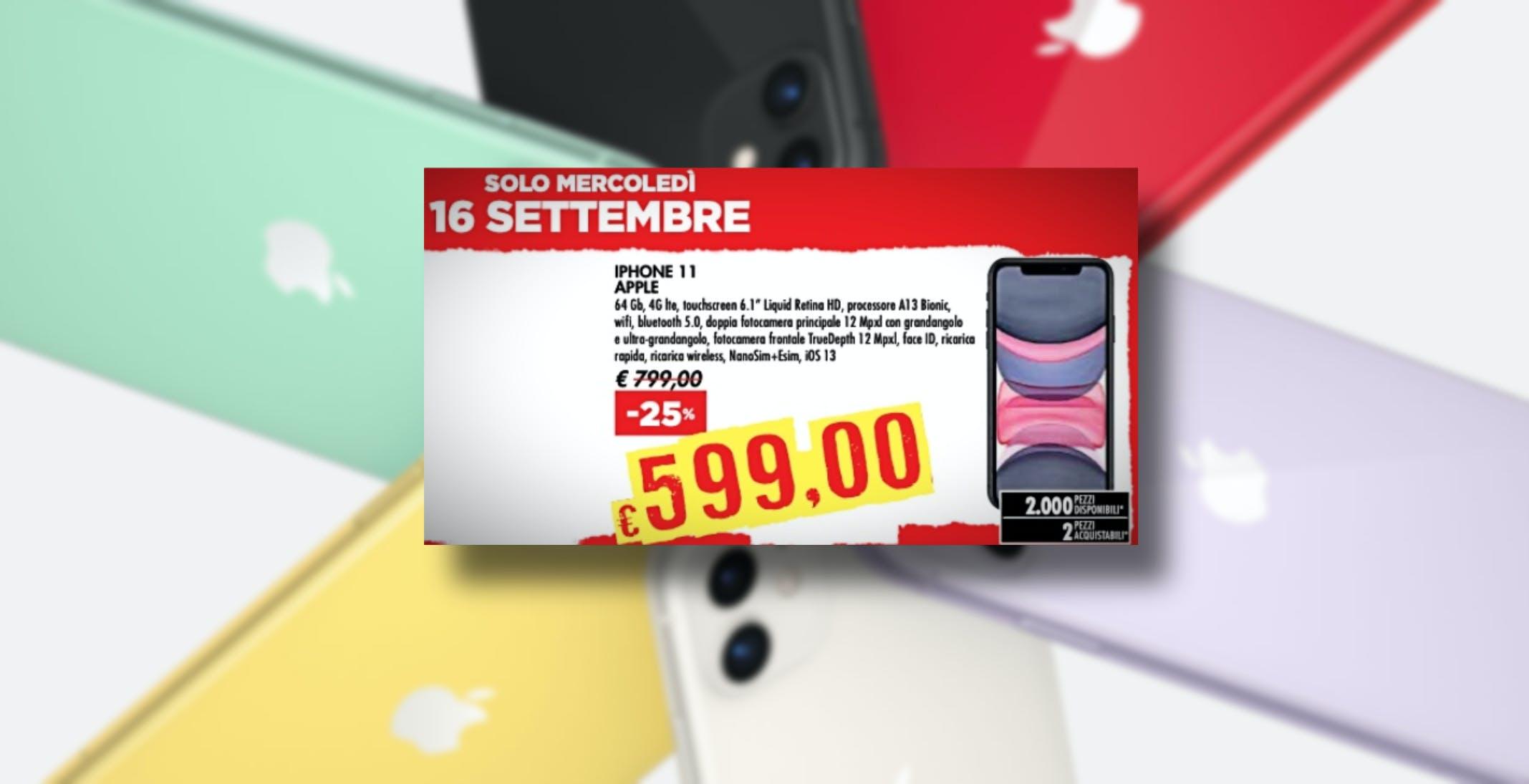 Bennet offre ancora l'iPhone 11 in super sconto: 599 euro, ma solo il 16 settembre
