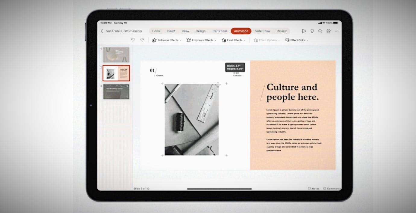Word, Excel e PowerPoint potenziano l'uso di mouse e trackpad su iPad
