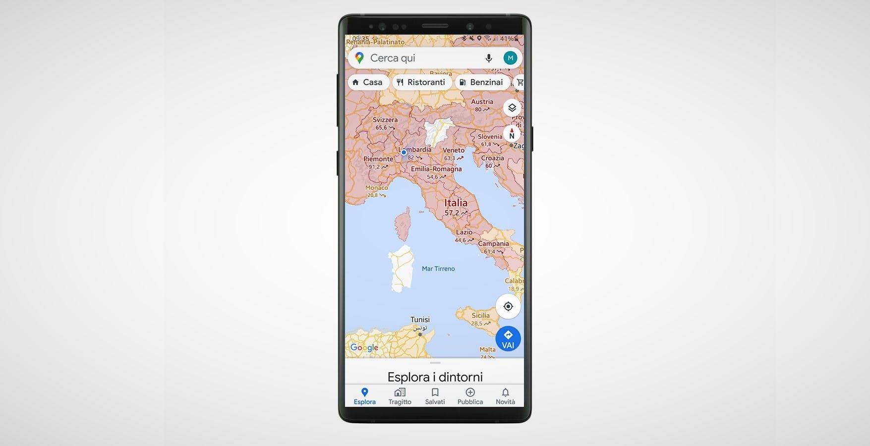 La mappa del COVID-19 in Italia arriva su Google Maps