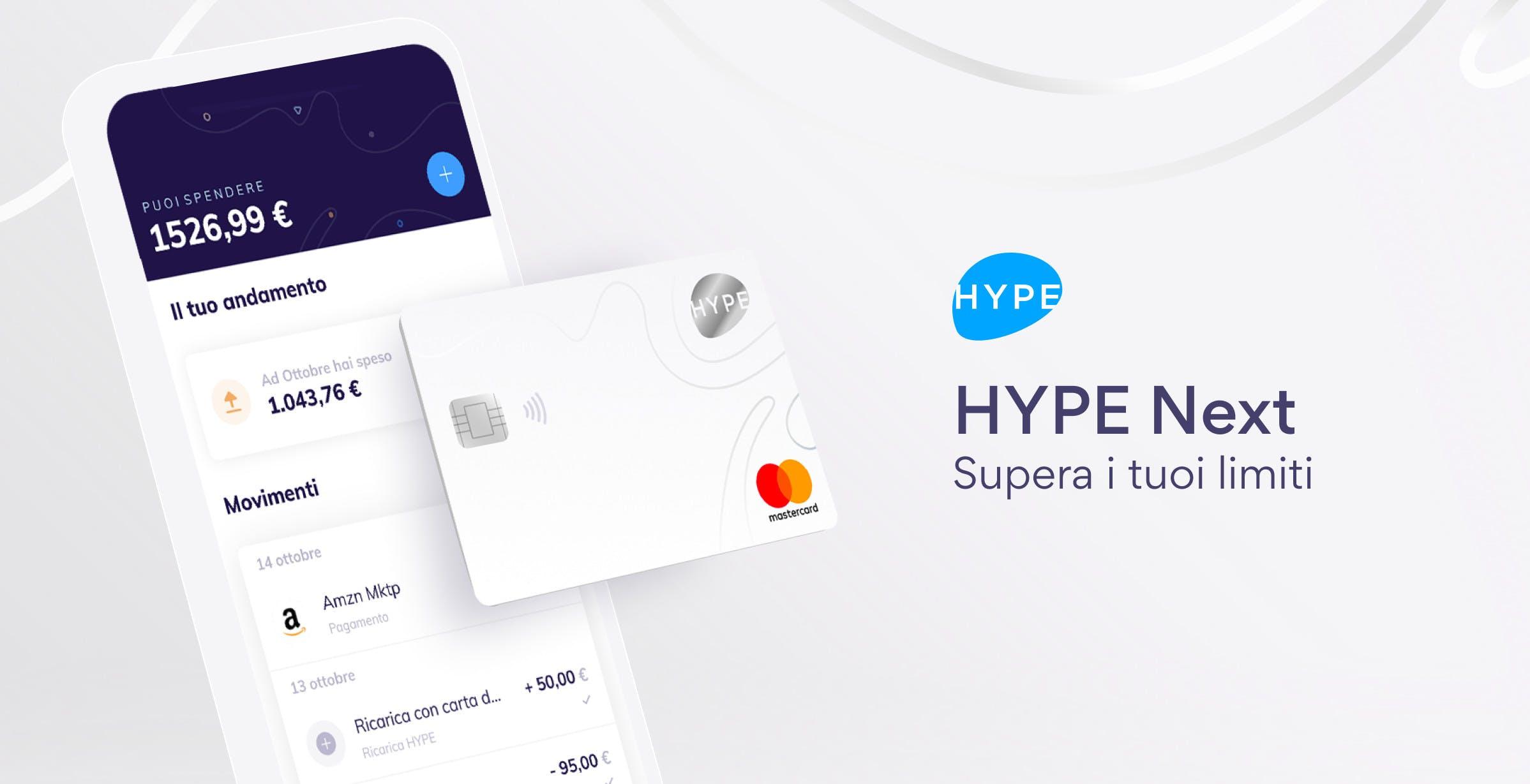 Hype lancia il conto Next con bonifici ricorrenti, istantanei e ricariche gratis