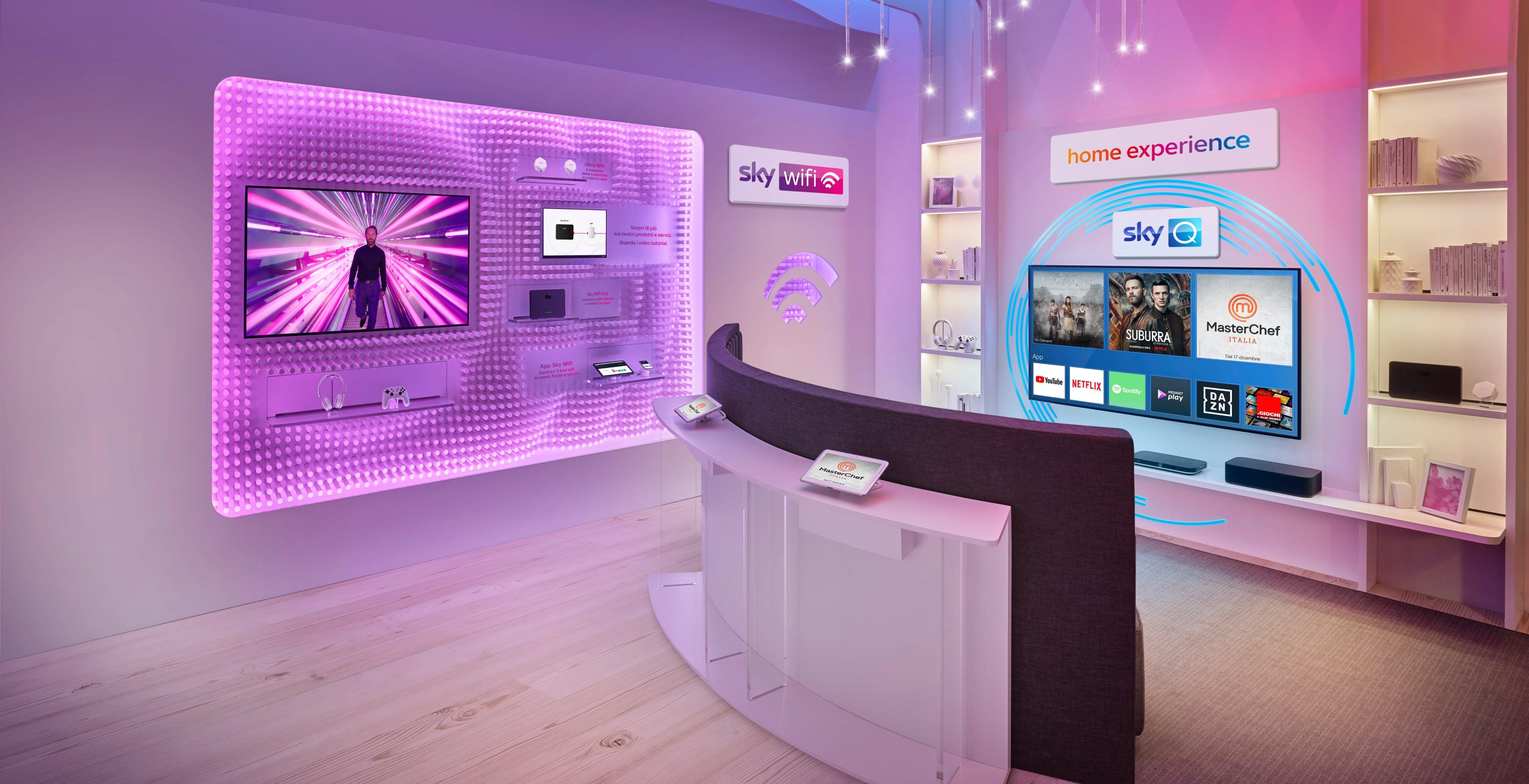 Sky apre i negozi fisici cominciando da Milano, Roma, Napoli e Brescia. Previste 50 aperture nel 2021
