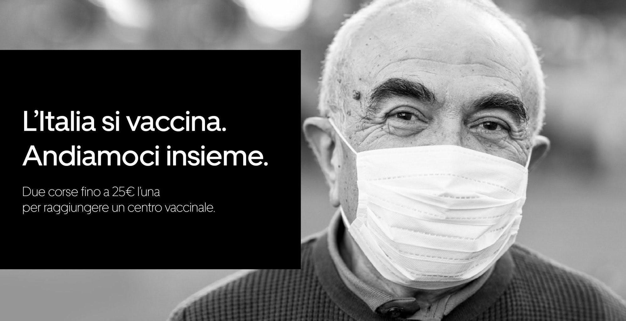 L'iniziativa di Uber: due corse gratis per chi deve raggiungere i centri vaccinali