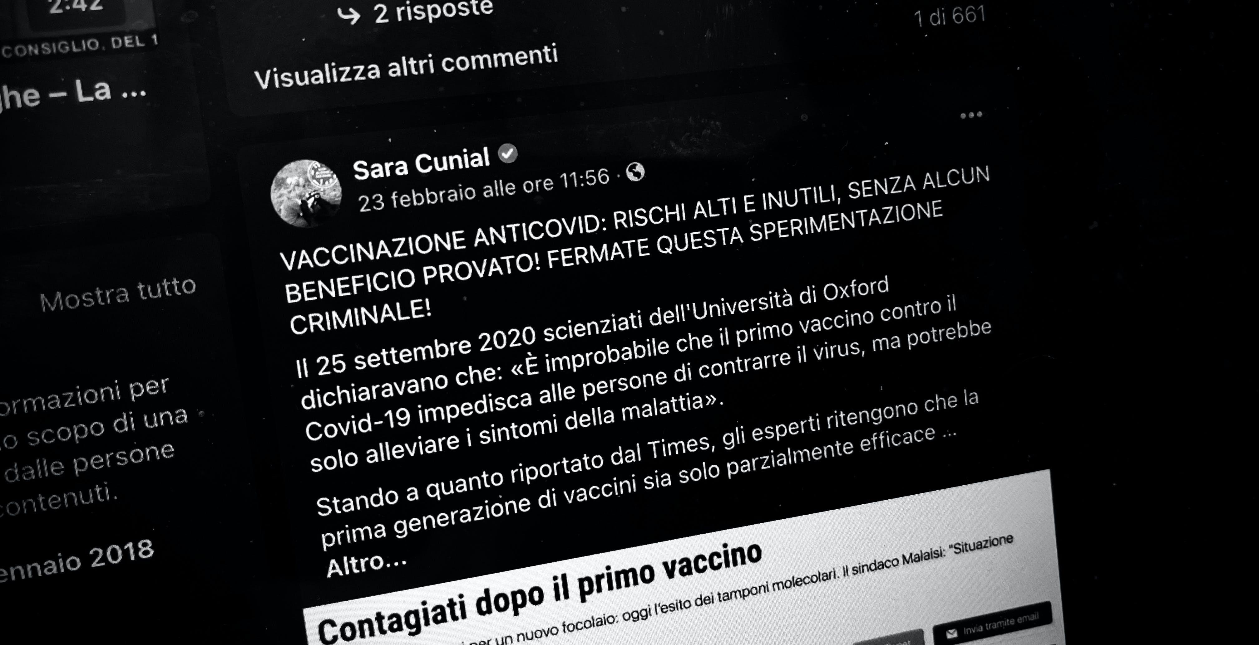 """Dov'è il pugno duro contro le fake news? Sara Cunial chiama la vaccinazione """"sperimentazione criminale"""" e Facebook non interviene"""