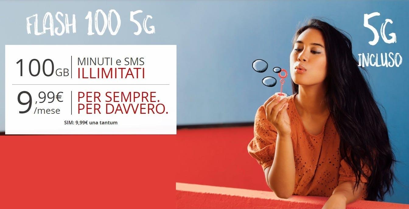 Ecco Flash 100 di Iliad: 100 giga in 5G con minuti e SMS illimitati a 9,99 euro al mese