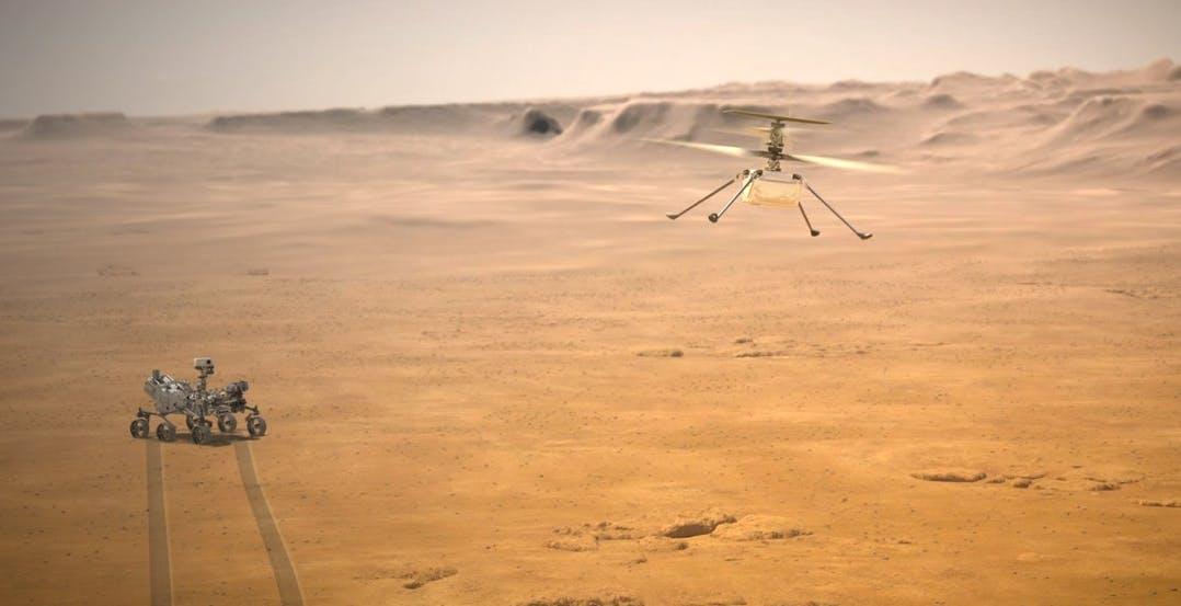 Questo aprile Ingenuity tenterà il primo volo della storia di un elicottero su Marte