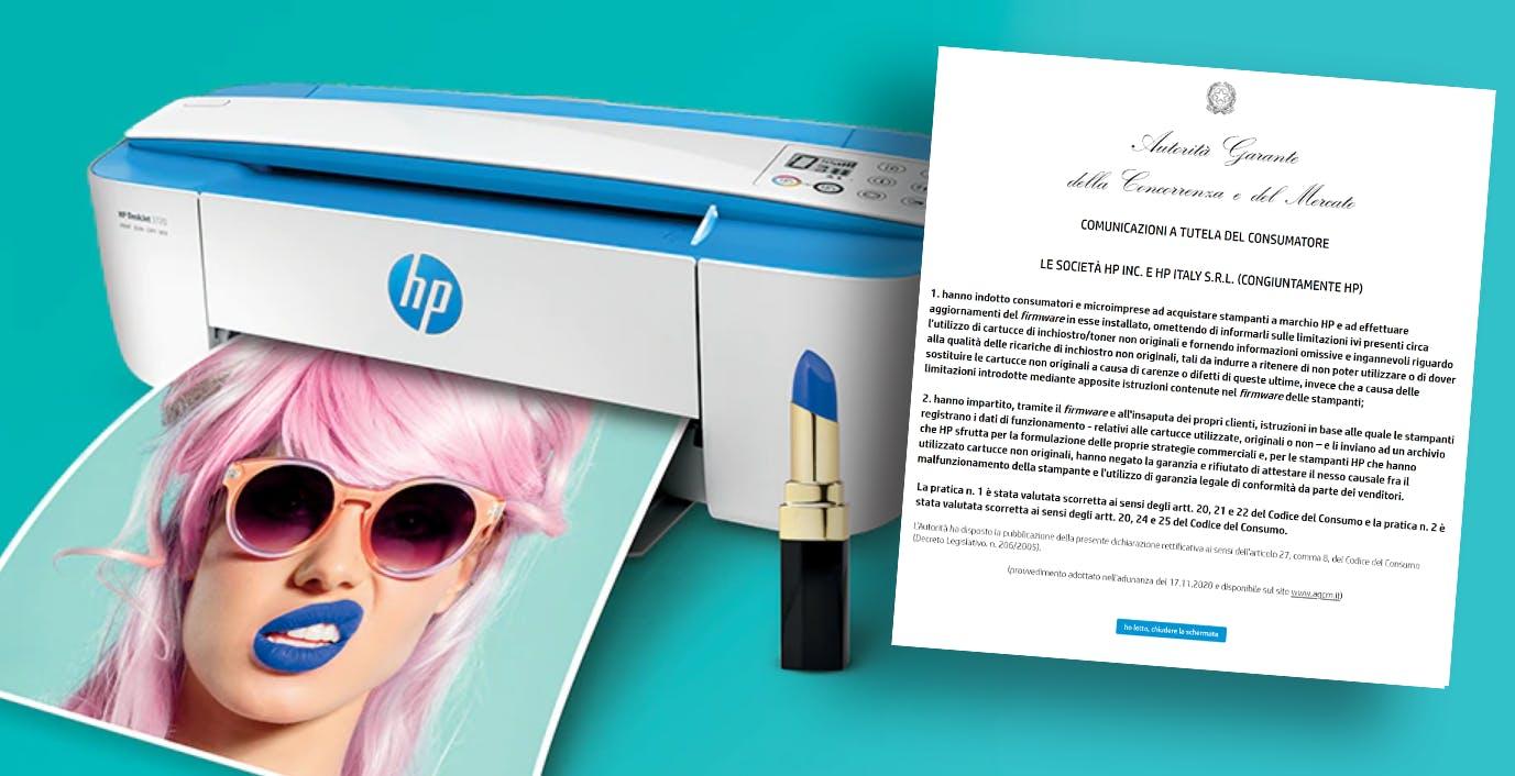 Cartucce non originali su stampanti HP: l'utente dovrà essere informato dei limiti