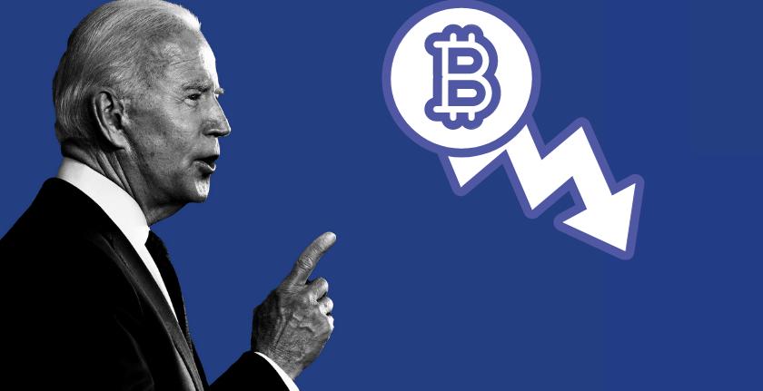 """Il prezzo di Bitcoin crolla sotto ai 50.000 dollari. Le scelte di Biden causano il """"fuggi fuggi"""" degli investitori"""