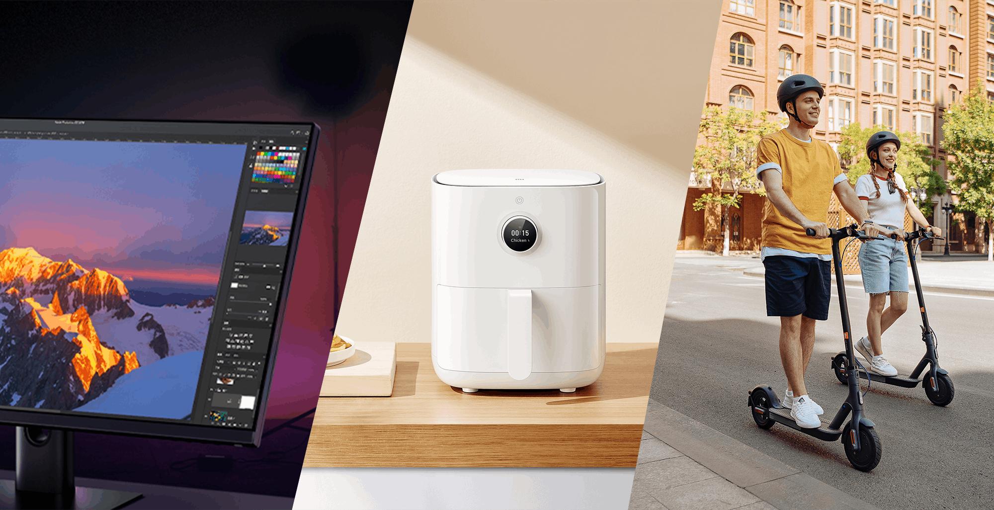 """Xiaomi, due prodotti inediti e un atteso aggiornamento: ecco la friggitrice ad aria smart, il monitor 27"""" 2k da gioco e un nuovo monopattino"""