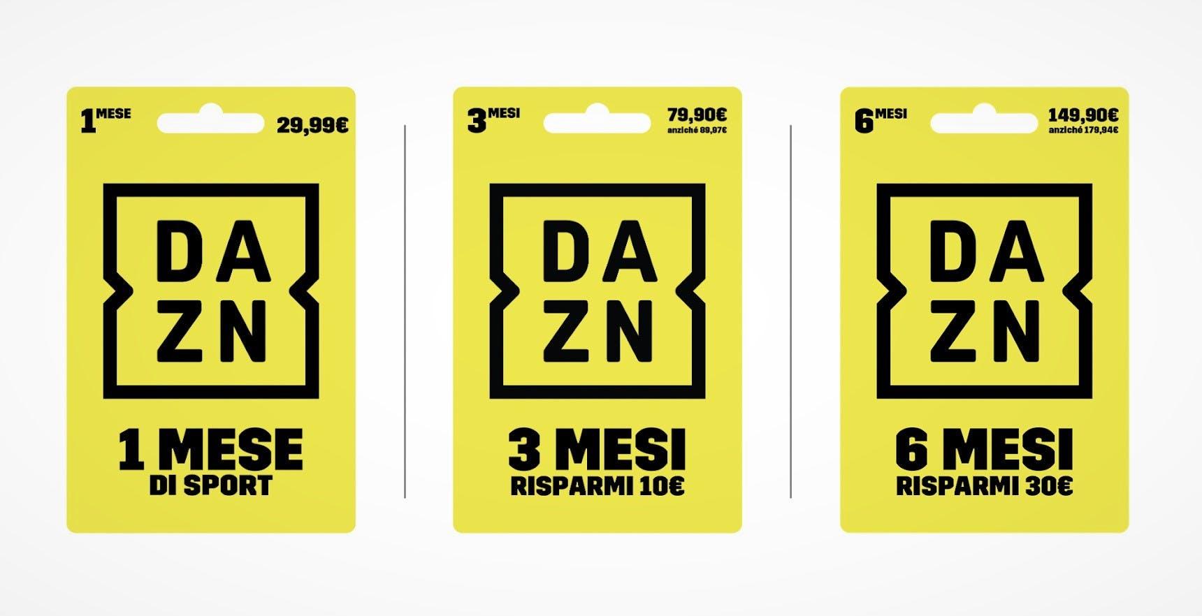 DAZN, disponibili le nuove carte prepagate: con quella da 6 mesi si risparmiano 30 euro
