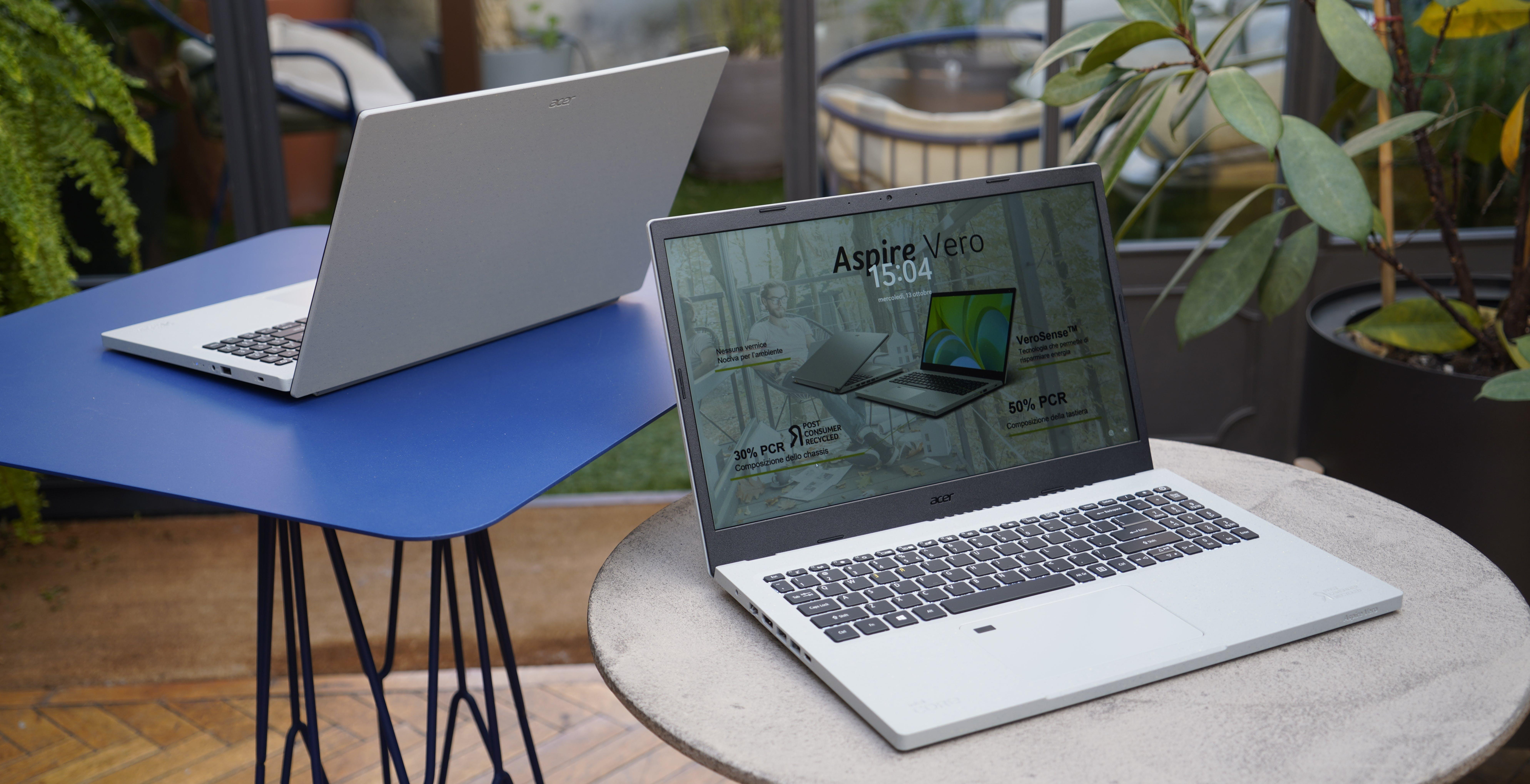 Aspire Vero di Acer è un notebook realizzato con materiali riciclati, dalla tastiera alla scocca